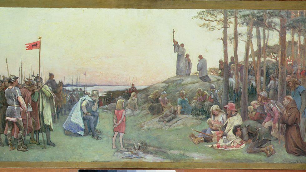 """Gustaf Cederströms målning från 1889:  """"Ansgar predikar på Björkö"""" (Birka).  Nationalmuseum, Stockholm."""