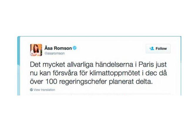 Åsa Romsons kritiserade tweet.