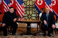 USA:s president Donald Trump under mötet med Nordkoreas ledare Kim Jong-Un i Hanoi i februari. Arkivbild.