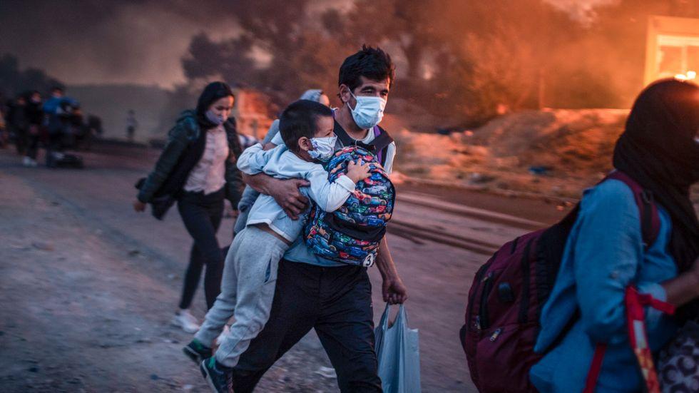 Migranter tvingades fly från lägret Moria vid en brand i början av september – men händelsen har inte påverkat svensk opinion.