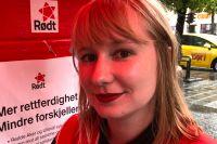 """""""Om vi blir stora och Sosialistisk Venstreparti blir stora kan vi vara en stor stark grupp på vänstersidan"""", säger Kathy Joakimsen, valarbetare för Rødt."""