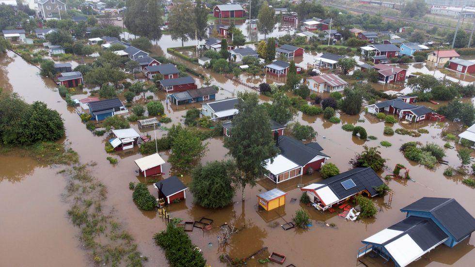 Översvämningarna i Gävle den 18 augusti. Arkivbild.