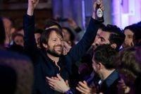 Danske kocken René Redzepi firar att hans restaurang Noma vunnit utmärkelsen världens bästa restaurang 2013.
