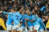 Manchester City jublar efter Sergio Agüeros 1–0-mål.