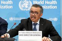 WHO-chefen Tedros Adhanom Ghebreyesus vid en presskonferens den 24 februari.