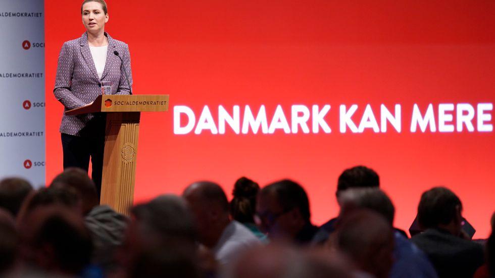 Danmarks statsminister Mette Frederiksen under kongressen på lördagen.