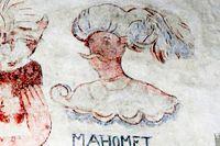 Väggmålning av Muhammed.