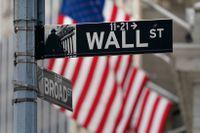 Finansgatan Wall Street på Manhattan i New York där börshuset ligger. Arkivbild.