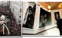 Spindelkonstverket La Princesse väger 37 ton och är huvudfigur i ett av kulturevenemangen i Liverpool under kulturhuvudstadsåret. Till höger trappan med porträtt av stadens söner på nyöppnade Beatleshotellet Hard Day's Night.