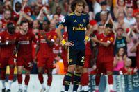 David Luiz deppar efter Liverpools 3–0-mål.