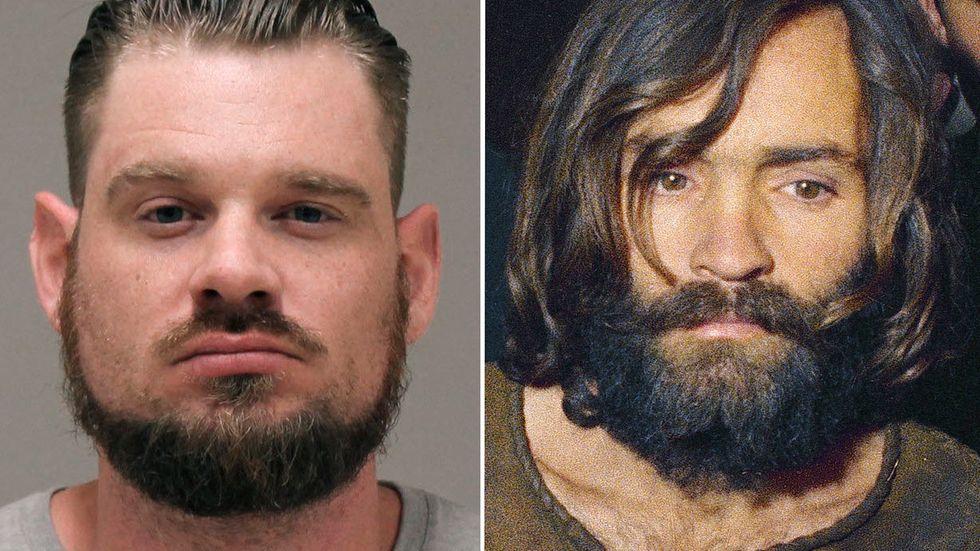 Både Wolverine Watchmen (t.v en av de anhållna medlemmarna Adam Dean Fox) och Mansonfamiljen (på bilden ses ledaren Charles Manson vid arresterandet 1969)  har format sin världsåskådning genom skeva tolkningar av populärkultur.