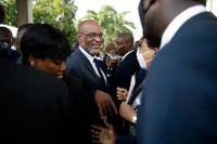 Haitis premiärminister Ariel Henry vid insvärningsceremonin den 20 juli.