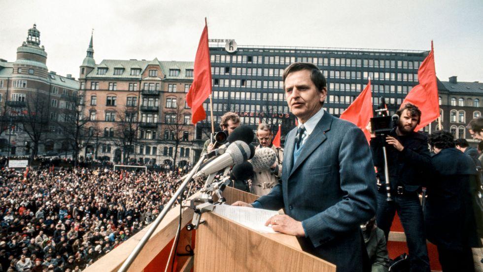 Olof Palme på Norra Bantorget.