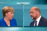 Angela Merkel och utmanaren Martin Schulz.