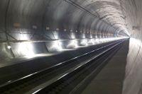 Nya tågtunneln under Gotthardmassivet.