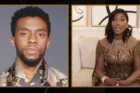 "Chadwick Bodemans fru Taylor Simone Ledward Boseman tog emot hans postuma pris för ""Ma Rainey's black bottom"" på nattens Golden Globe-gala."