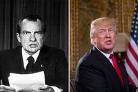 Richard Nixon, som var president mellan 1969 och 1974, och USA:s nuvarande president, Donald Trump.
