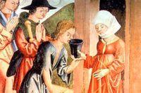 Beginerna vårdade bland annat sjuka. Målning från 1400-talet.