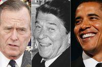 George H W Bush, Ronald Reagan och Barack Obama.