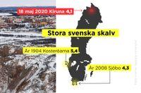 Ett gruvskalv med magnituden 4,1 inträffade i Kirunagruvan.