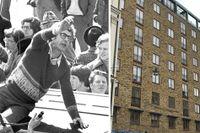 """Bo Widerberg under inspelningen av """"Mannen på taket"""" 1976 –till höger huset där en del av dramat utspelade sig."""