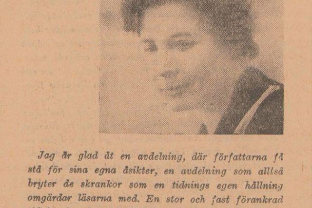 Elin Wägner om understreckarna i jubileumsnumret av SvD på tidningens 50-årsdag 15/12 1934.