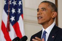 Barack Obama i Vita huset under det tv-sända talet till nationen.