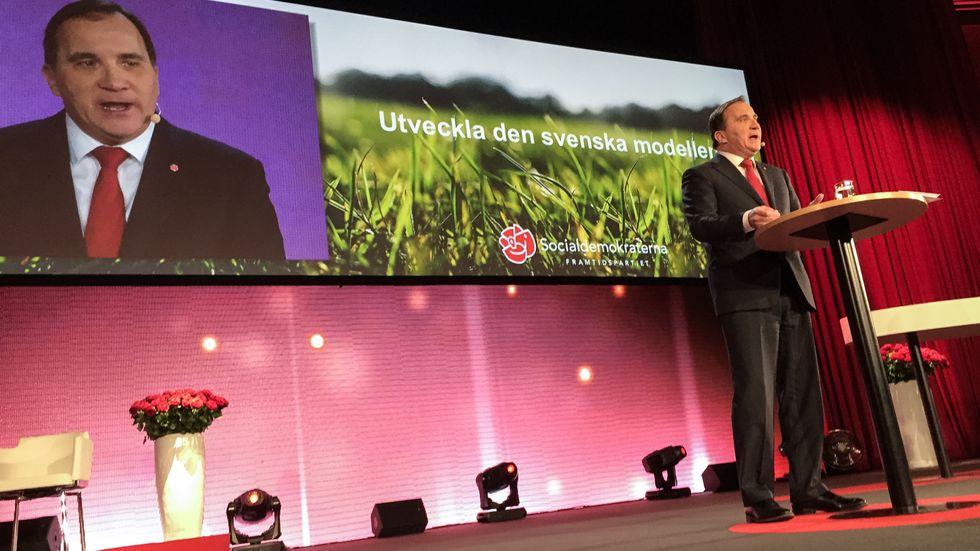 Stefan Löfven omdefinierade den svenska modellen under sitt tal på partiets kommundagar i helgen.