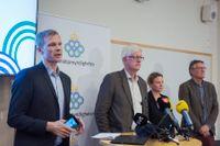 Det var så här det började. Närmast i bild Folkhälsomyndighetens presschef Christer Janson som ännu inte ser något stoppdatum för presskonferenserna om pandemin. Arkivbild.