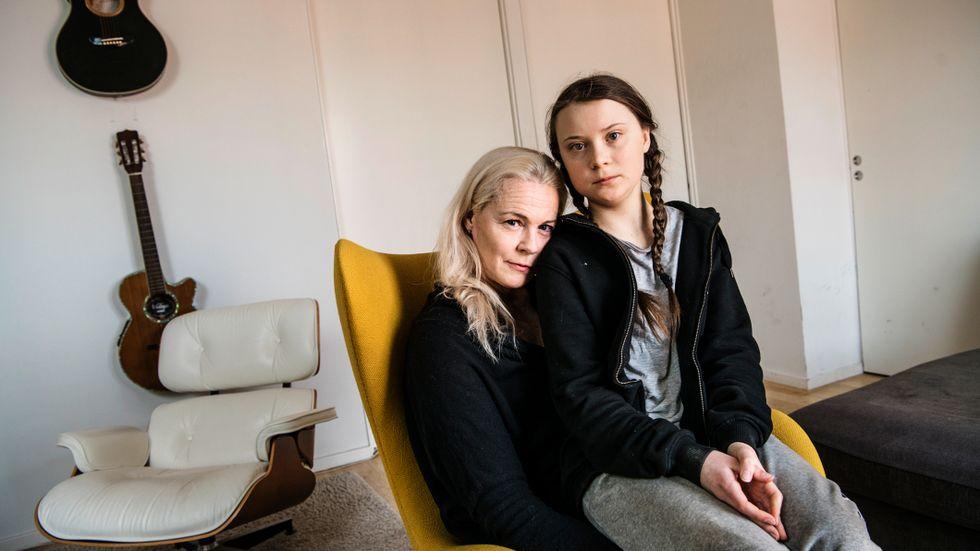 Greta Thunberg och hennes mamma, operasångerskan Malena Ernman. Arkivbild.