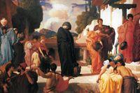 Andromaches öde är ständigt aktuellt i konsten. Här målningen Andromache i fångenskap av Frederic Leighton (cirka 1886).