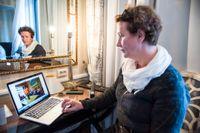 Irene Ojala från Pasientfokus tar plats i stortinget. Arkivbild.
