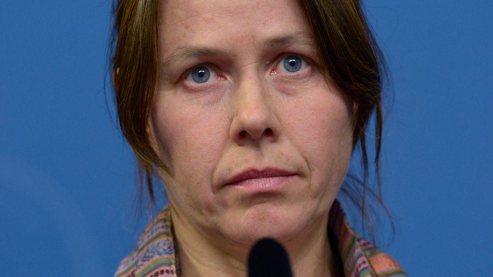 Åsa Romson under gårdagens presskonferens.