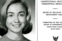 Hillary Rodham 1965. Till höger rapporten om riksrätt från 1974 som hon hjälpte till att skriva.