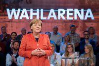 Tysklands förbundskansler Angela Merkel under en tysk tv-sändning inför valet, där tyskar kan ställa frågor till Merkel.