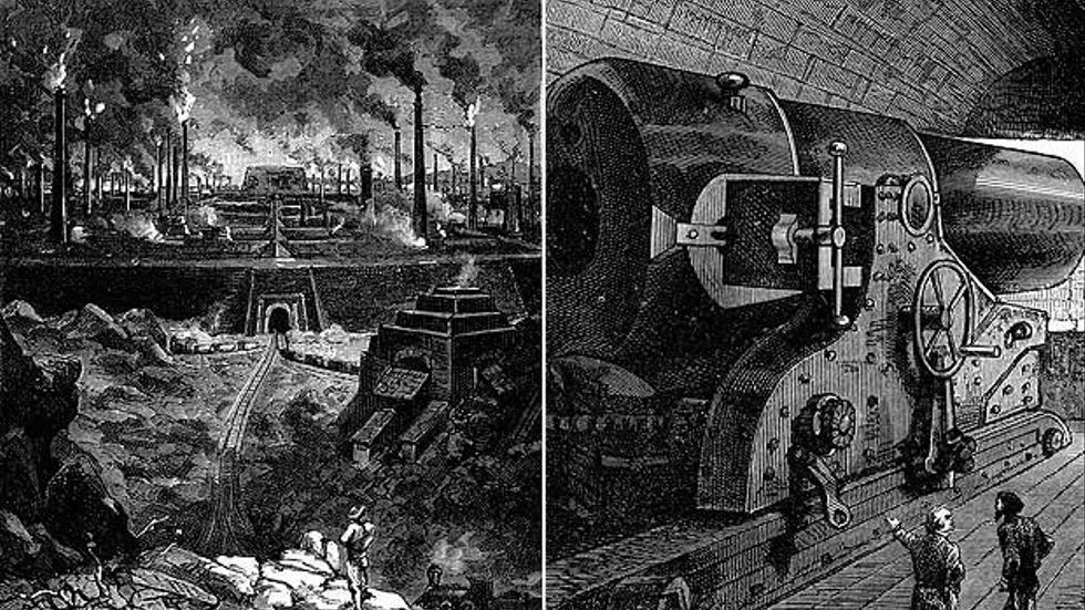 Två dystopiska bilder som visar utvecklingen i Stahlstadt.