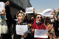 Kvinnor i Kabul som demonstrerar mot talibanstyret. Bild från 3 september.