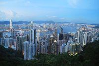 Vy över Hongkong.