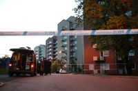 Brottsplatsen på Guldheden i Göteborg.