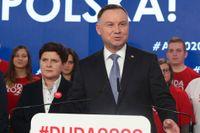 Polens president Andrzej Duda från styrande Lag och rättvisa (PIS) kampanjtalar i Warszawa i februari. Arkivbild.