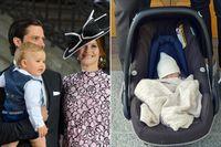 Prinsparet Carl Philip och Sofia, till vänster med sonen Alexander. Till höger: Alexanders nyfödde lillebror.