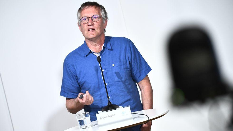 Anders Tegnell under en digital pressträff.