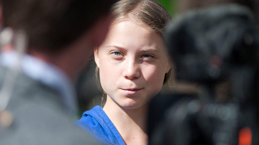 Greta Thunberg i samband med ett framträdande i Iowa, USA, den 4 oktober.