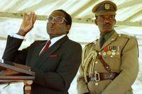 Robert Mugabe håller ett tal i en zimbabwisk by.