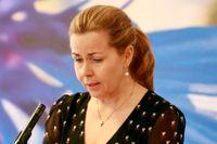 EU-parlamentariker Cecilia Wikström (L) på en pressträff inför Liberalernas riksmöte.