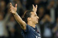 Zlatan Ibrahimovic jublar efter ett av hittills nio PSG-mål.