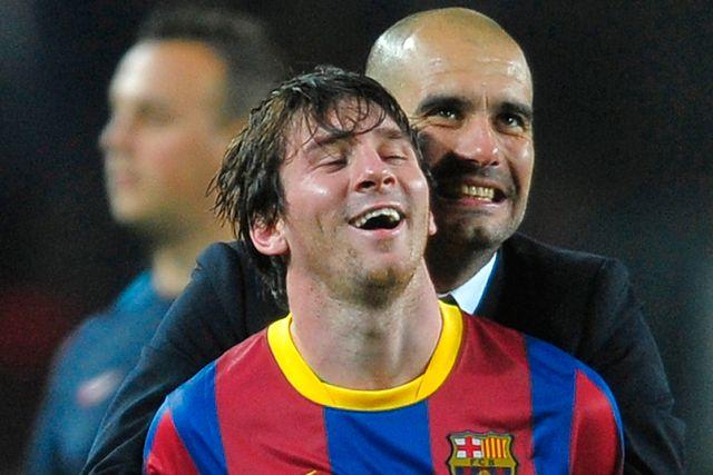 Leo Messi och Pep Guardiola i Barcelona 2011.