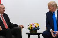 Recep Tayyip Erdogan och Donald Trump. Arkivbild