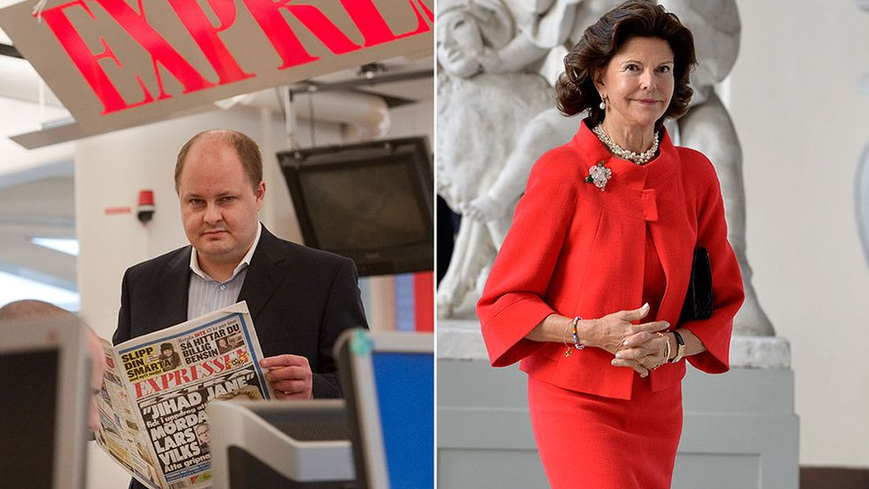 Expressens chefredaktör Thomas Mattsson och drottning Silvia.