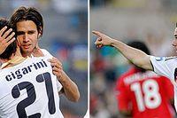 I den andra semifinalen möts Italien och Tyskland. Här ses Robert Acquafresca och Luca Cigarini kramas samt Gonzalo Castro jubla.